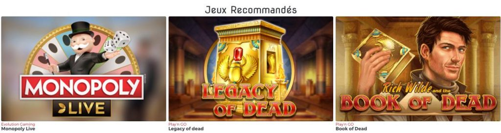 Lucky31 Jeux casino recommandes