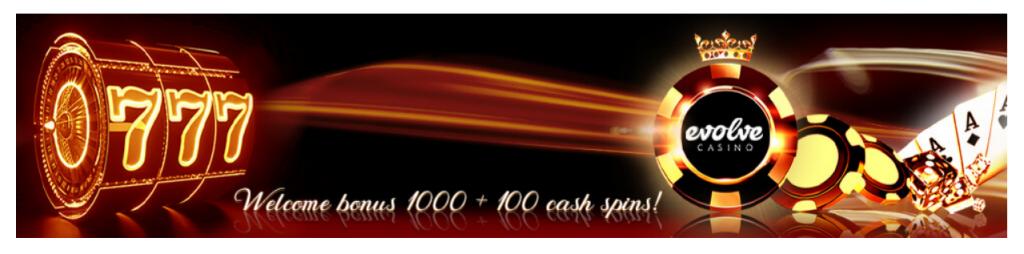 Bonus de bienvenue Evolve Casino 1000 euros + 100 tours gratuits