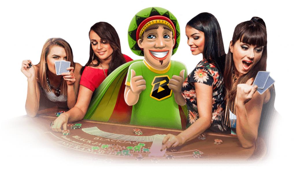 bob entouré de filles au blackjack