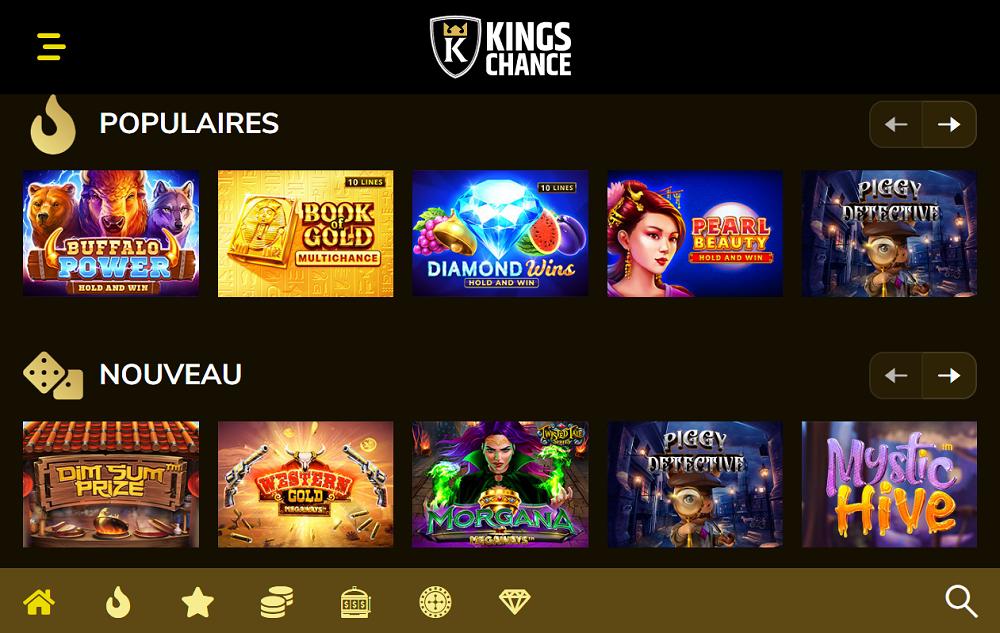 kings chance casino jeux populaires et nouveau