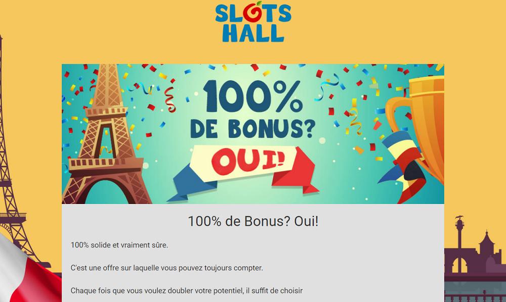 slots hall 100% de bonus