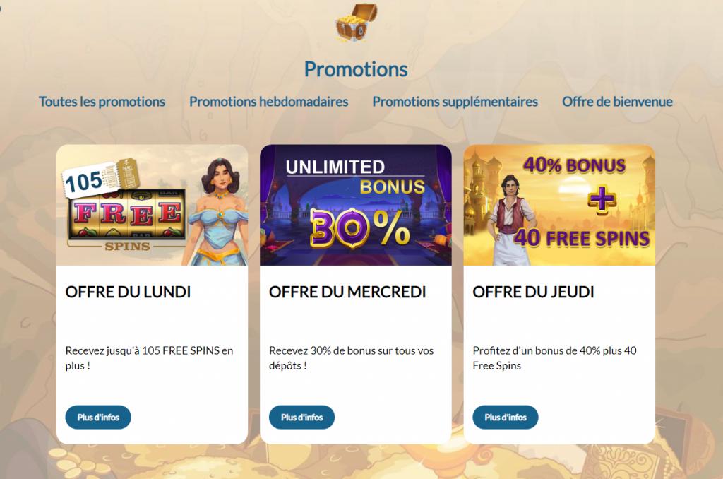 promotions hebdomadaires prince ali casino