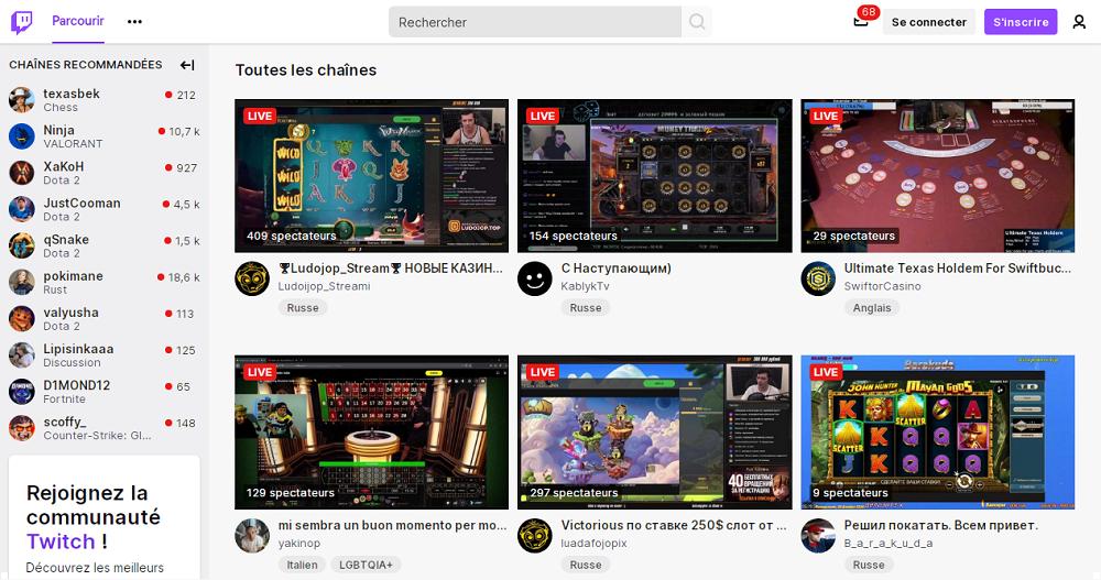 Streaming des jeux de casino en ligne