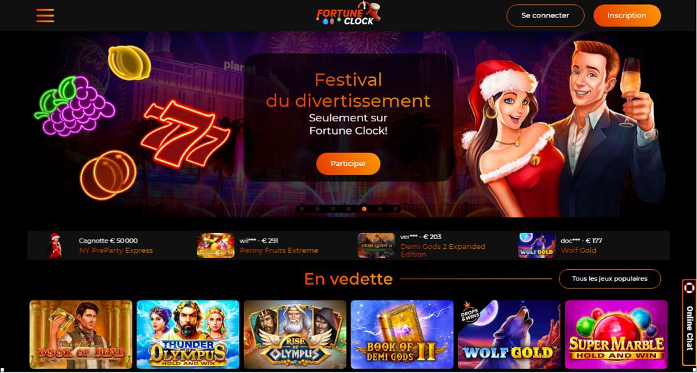 festival du divertissement seulement sur Fortune Clock casino
