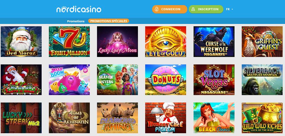 Sélection des jeux de casino chez Nordicasino
