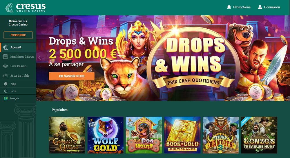 Cresus Casino Drops and Wins