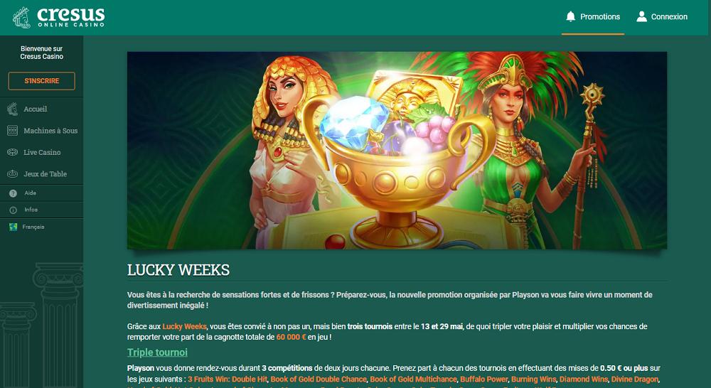 triple tournoi lucky week cresus