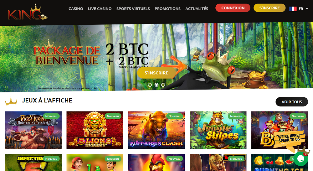 kingbit casino interface