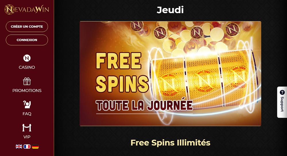 nevadawin free spins illimites le jeudi