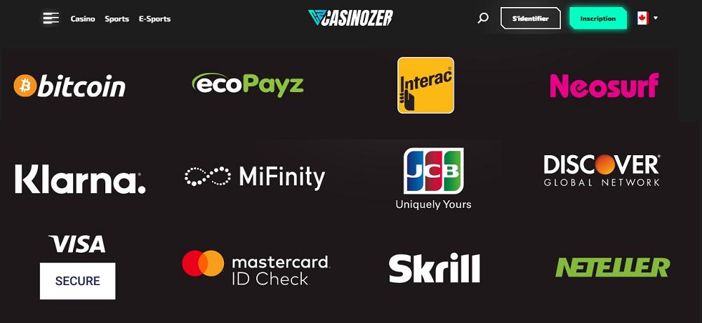 Casinozer système de paiement sécurisé