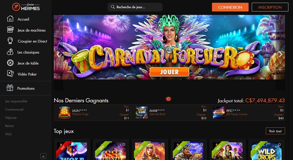 casino hermes interface