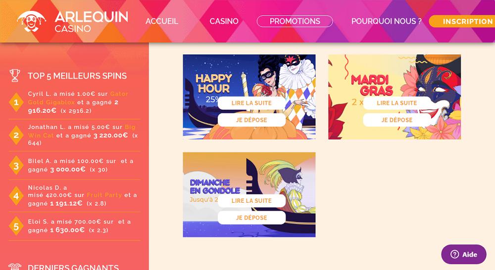 promotion arlequin casino