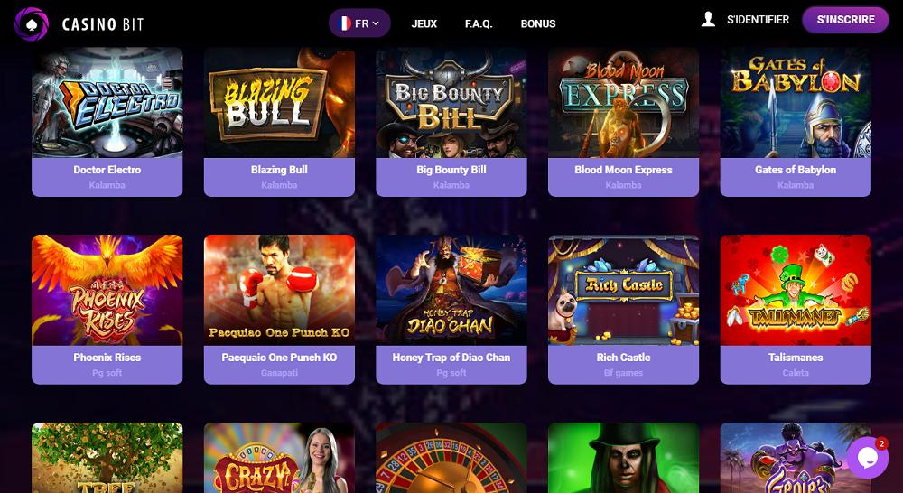 différents jeux de casino sur Casinobit